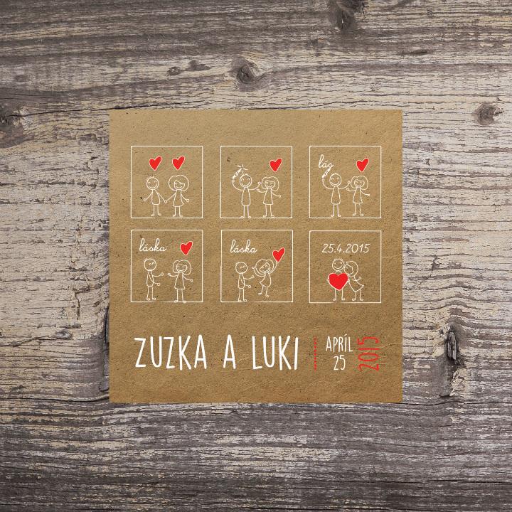 Je to láska (vintage svadobné oznámenie 10 x 10 cm)