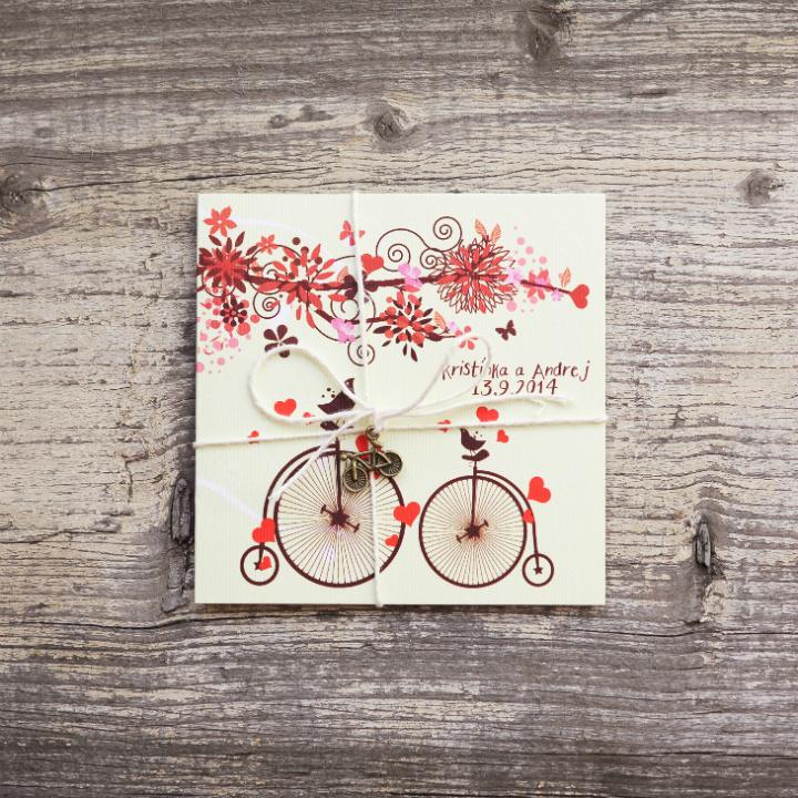 BicycLOVE (vintage svadobné oznámenie 10 x 10 cm)