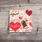 Love/Amor/Láska (vintage svadobné oznámenie 10 x 10 cm)