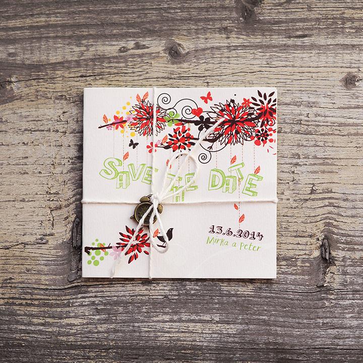 """""""Na větvy"""" (vintage svadobné oznámenie 10 x 10 cm)"""