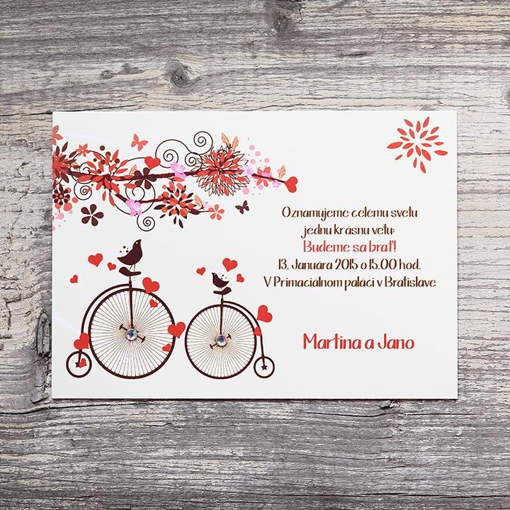 Retro bicyklík (vintage svadobné oznámenie A6)